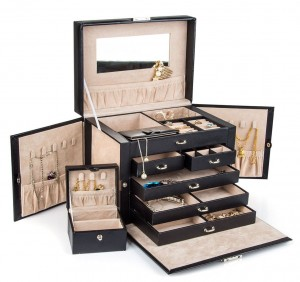 Kendal Black Leather Jewelry Box