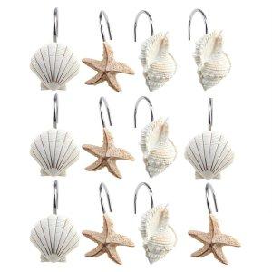 AGPtek® 12 PCS Fashion Decorative Home Bathroom Seashell Shower Curtain Hooks (Seashell Light Brown; Starfish Tan; Conch L