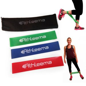 Highest Quality Athleema Set of 3 Loop Bands (Light, Medium, Heavy) 10 X 2 the Best Exercise Loop Resistance Bands for Any Workout. Great for Home Gym
