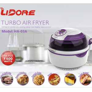LIDORE® 8-Modes Oil-Less Air Fryer.Lavender colored type,10L,1300W. Package with 6 Cooking Accessories