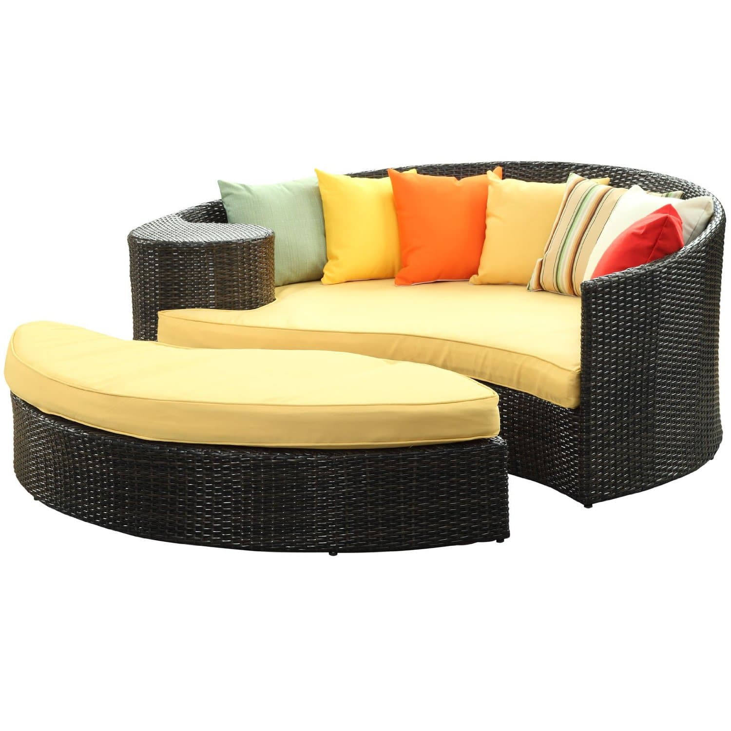 Good LexMod Taiji Outdoor Wicker Patio Daybed with Ottoman in Brown with Orange Cushions This daybed bedding set