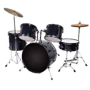 New Black Drum Set 5 PC Complete Adult Set Cymbals Full Size Adult Drum Set J05