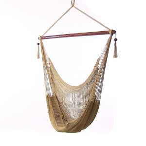 Sunnydaze Hanging Caribbean XL Hammock Chair, Tan, 40 Inch Wide Seat