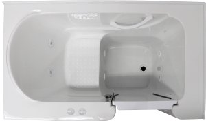 30 x 54 Right Drain Acrylic Whirlpool Jetted Walk-In Bathtub ~ 3054 White Tub