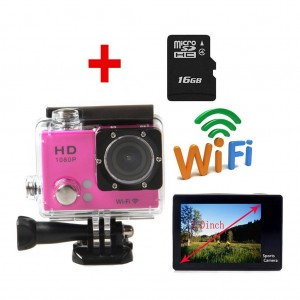 CNUALV HDV-G3 Wifi 12MP Full HD 1080P Bicycle Helmet Sports DV Action Waterproof Car Camera (include 16GB Micro SD card) (pink)