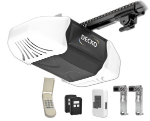 Decko 24300 34 Horse Power Heavy Duty Reduced Noise Chain Drive Garage Door Opener with 3 Function Locking Wall Control, Two - 3 Button Remotes and