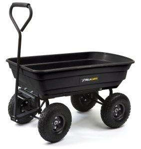 Gorilla Carts GOR200B Poly Garden Dump Cart with Steel Frame and 10-Inch Pneumatic Tires, 600-Pound Capacity, 36-Inch by 20-Inch Bed, Black Finish
