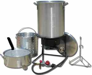 King Kooker 1265BF3 Portable Propane Outdoor Deep FryingBoiling Package with 2 Aluminum Pots