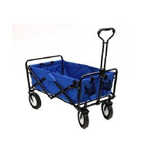 Mac Sports Collapsible Folding Utility Wagon Garden Cart Shopping Beach Blue