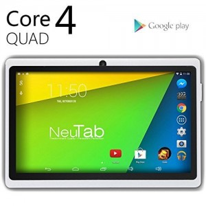 NeuTab® N7 Pro 7'' Quad Core Google Android 4.4 KitKat Tablet PC, HD 1024X600 Display, Bluetooth, Dual Camera, Google Play Pre-loaded, 3D-Game Supported (White