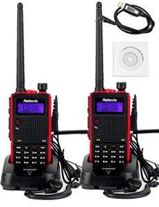 Retevis RT5 2 Way Radio 5W Dual Band VHF UHF 136-174400-520 MHz 128 Channel Scan VOX FM Radio Flashlight Walkie Talkies Ham Radio Transceiver (2 Pack) and P