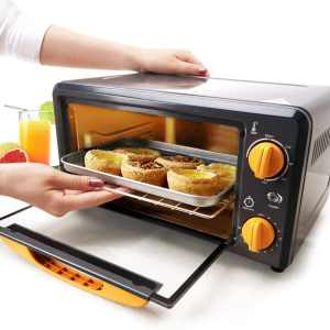 SKG High Performance 1000W 0.38 CU FT Mini Oven - Portable Electric Oven Dorm Oven - Oven Broiler with 2 Quartz Heating Elements - Small Oven for Cou