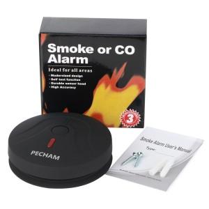 Smoke Detector, PECHAM 2599 Battery Powered Fire Alarm Smoke Detector with Photoelectric Sensor (Black)