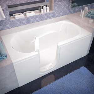 Venzi Bathing 30x60 Left Drain White Soaking Step In Walk In Bathtub