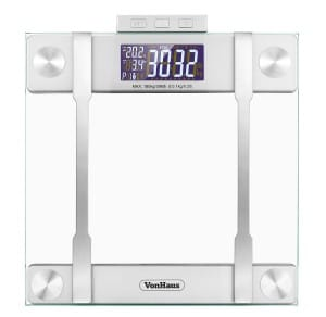 VonHaus Body Fat Scale - Body Composition Analyser, Hydration Monitor, 400lb Weight Capacity, SilverGlass Bathroom Weight Scales