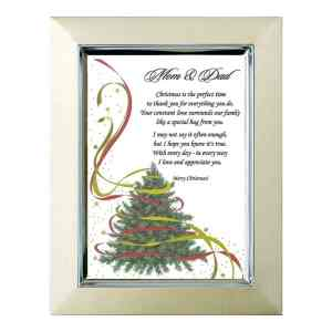 Christmas Gift for Mom & Dad - Sweet Poem for Parents on 5x7 Inch Christmas Tree Paper with Gold Highlights