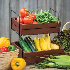 DII Food Safe 2 Tier Storage Wood & Iron Farmhouse Stand, 14 by 9.25 by 16
