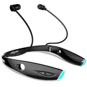 Global Times® Wireless Bluetooth Sports Headset Portable Fold Waterproof Neckband In-ear Stereo Headphone Earbud Earphone for Running Gym Exercise Black