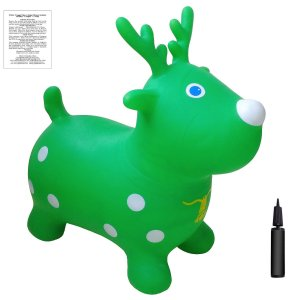 Green Reindeer Bouncer with Hand Pump, Inflatable Space Hopper, Ride-on Bouncy Animal