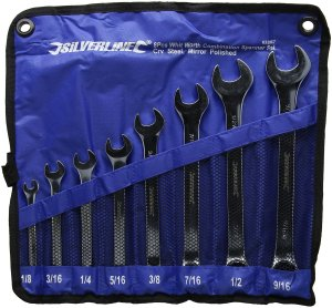 Silverline 633967 8 Piece Crv Whitworth Combination Spanner Set Engineering Tool