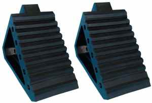 YM W4194 Solid Rubber Wheel Chock, 8-34 Length, 4 Width, 6 Height - Pack of 2