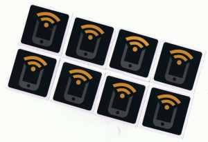 8 Black NFC Stickers NTAG213 by Tagstand - Fully programmable, and works with Android, Samsung Galaxy S6, S5, S4, S3, Nexus 5, HTC, and All Other NFC Enabled Devices
