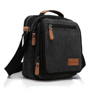 Ibagbar Durable Multifunction Canvas Shoulder Bag Business Messenger Bag Ipad Bag Tote Bag Satchel Bag for Men and Women