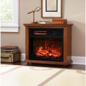 XtremepowerUS Infrared Quartz Electric Fireplace Heater Oak
