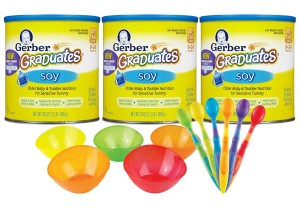 Gerber Graduates Soy Powder Infant & Toddler Formula (24 oz, 3 Pack) with Multi Bowls & Spoons for Mixing