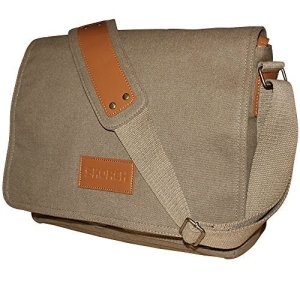 SKORCH Compact Canvas Messenger Bags and Commuter Bags for Men and Women, with Comfortable Shoulder Strap (Brown)