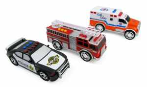 3-in-1 Emergency Vehicle Toy PlaySet for Kids w Lights and Sounds (Fire Truck, Police Car, Ambulance)