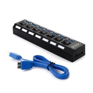 MECO 7 Port USB 3.0 Hub OnOff Switch High Super Speed Adapter & Cable for Laptop PC
