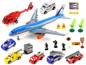Supreme International Airport Toy Vehicle Playset w Variety of Toy Vehicles & Figures