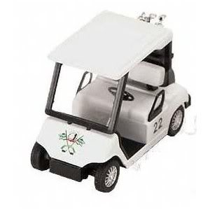 Toy Game Kinsmart White Pull Back Golf Cart Superior With Plastic Parts - For Pullback Motor Action