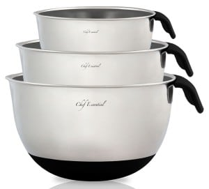 Chef Essential 1810 Stainless Steel Mixing Bowls Set of 3 with Handle and Spout, Black