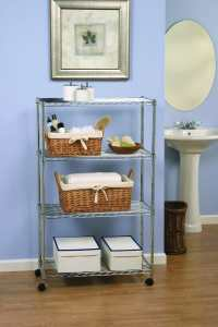 Seville Classics SHE14304 Home Style Mobile 4-Shelf Storage System