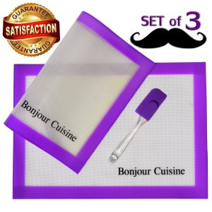 Silicone Baking Mat Set Using in Pans with Measurements for Non Stick Cookie Sheet One Spatula Like Gift Bonus Lifetime Guarantee Kids Friendly