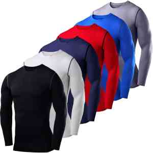 Men's Boys PowerLayer Compression Base Layer Top Long Sleeve Thermal Under Shirt