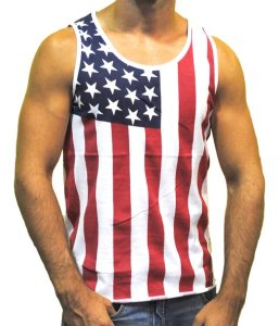 Patriotic American Flag Stars All Over Tank Top Shirt