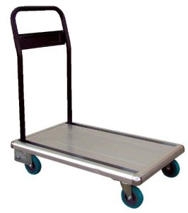 Vestil FAT-1829 Aluminum Platform Truck with Folding Handle, 330 lbs Capacity, 29 Length x 18 Width x 6-12 Height Deck