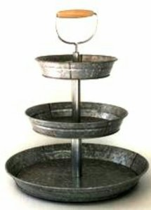 1 x 3 Tier Galvanized Round Metal Stand Outdoor Indoor Serveware for Fruits and Vegetables Food