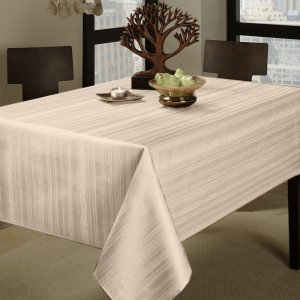 Benson Mills Flow Heavy Weight Spillproof 60-Inch by 104-Inch Fabric Tablecloth, Ivory