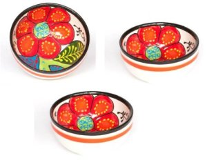 Ceramic Bowls Set of 3 Fruit Bowls - Hand Painted From Spain - Eve Design