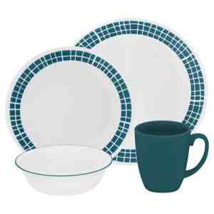 Corelle Livingware 16-Piece Dinnerware Set, Aqua Tiles, Service for 4