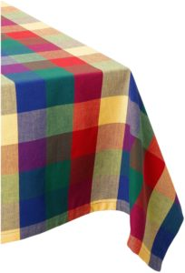 DII 100% Cotton, Machine Washable, Dinner, Summer & Picnic Tablecloth 52 x 52, Summer Palette Check, Seats 4 People