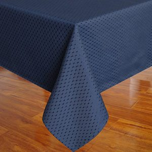 Eforcurtain Shabby Chic Waffle Weave Fabric Table Cover Rectangle Tablecloth Stain Resistant Spill-proof Waterproof, Navy Blue, 60-inch By 102-inch