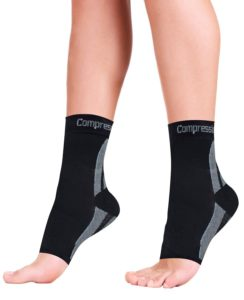 Foot Sleeves (1 Pair) Best Plantar Fasciitis Compression for Men & Women - Heel Arch Support Ankle Sock
