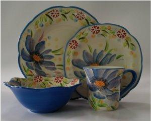 LG Stylish 16-piece Dinnerware Set colors (Blue)