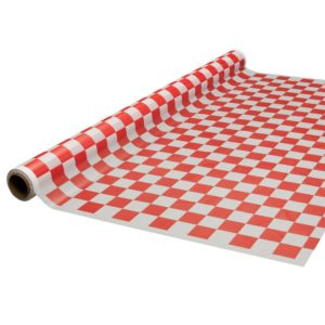 Party Essentials Printed Plastic Banquet Table Roll Available in 27 Colors, 40 x 100', Red and White Checks