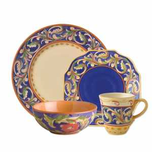 Pfaltzgraff Villa Della Luna Blue 32-Piece Dinnerware Set with Serveware, Service for 8